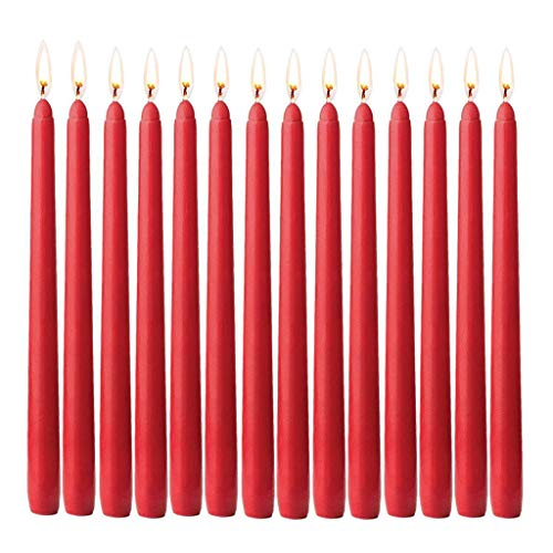 follwer0 14 Pack Red Taper Candle Unscented Hand-Dipped Tapered Candles Long Burning for Decorative Candlelight Weddings, Dinners, Restaurants Home Gift Ideas