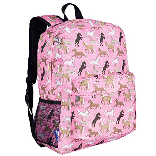 Wildkin Kids 16 Inch Backpack for Boys and Girls, Ideal Size for Kindergarten, Elementary, and Middle School, Perfect for School and Travel, 600 Denier Polyester, BPA-Free (Horses in Pink)