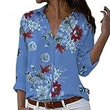 Camicetta Pullover Top Camicia Donna Taglie Forti Stampa Scollo a V Bottone Stampato (XL,3- Blu)