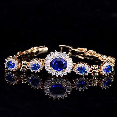 Bracelet For Women Elegant Flower Shape Chain Link Light Yellow Gold Color Cz Black Crystal Stone Bracelets Bangles For Women Blue