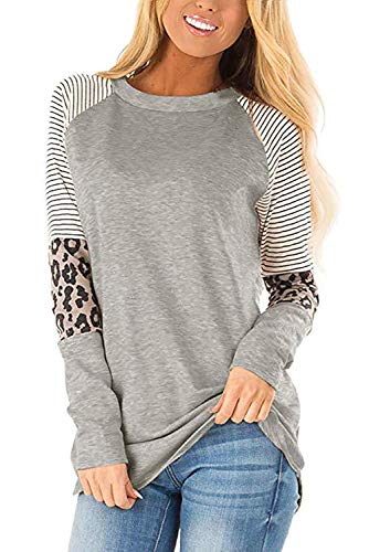 QAKEHU Damen gestreiftes Leopard Print Langarmshirts Tunika Herbst Tops Bluse Farbblock T Shirt Lässig Oberteile Hemd Gray XL