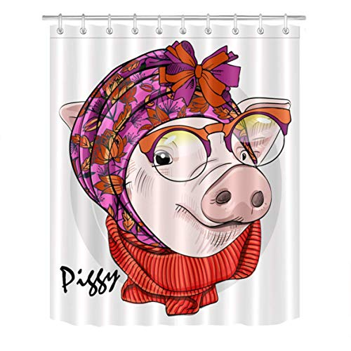 N \ A Juego de cortina de ducha de cerdo con gafas, pañuelo en blanco, cortina de baño con ganchos, 183 x 183 cm, tela de poliéster impermeable, decoración de baño duradera