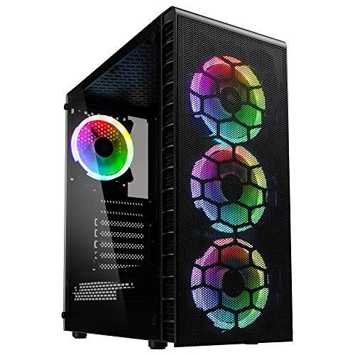 KOLINK Observatory Lite Mesh RGB Midi-Tower - PC-Gehäuse - Tempered Glass - Mesh-Front - Hoher Airflow - schwarz