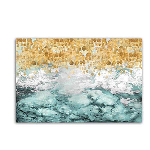 HSFFBHFBH Lienzo Arte de la Pared Impresión Pintura Abstracta Grande Azul Turquesa Verde Azulado Dorado Colorido Fluido Vertical Decoración de Arte Pintura 70x100cm (27.6