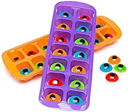 Bundle of 2 Halloween Ice Cube Trays with Gummy Eyeballs, One Purple and One Orange Tray Each With 14 Gummy Eyes