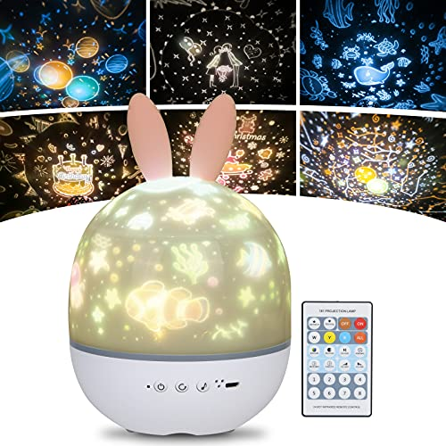 URAQT Lampara Infantil Proyector, Proyector de Luz Nocturna para Bebes, Proyector Estrella Giratorio con Función de Mando a Distancia y 8 Música, Lindo Juguete y Regalo para Niños y Bebés