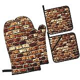 Viejo Grunge Pared Ladrillo Envejecimiento Construcción Casa Rústica Estructura,Juegos de Manoplas para Horno y Porta Ollas,4Pcs Impermeable Guantes Almohadillas para Cocina Cocinar Hornear Barbacoa