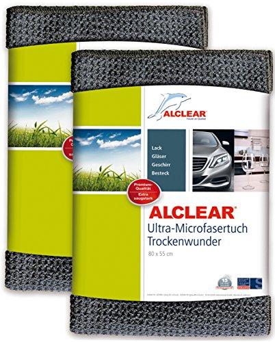 ALCLEAR Auto Microfasertuch Trockenwunder für Autopflege, 2er Set, Autolack, Motorrad, Küche u. Haushalt – Microfaser Geschirrtuch - weiches Trockentuch - 80x55 cm grau