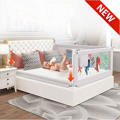 Barrera de Cama para Bebé, Barandillas de Cama Ajustable Barrera de Seguridad Niño para Cama, Diseño de Elevación Barrera Cama Abatible, 120/150/180/200/220 cm Gris,180cm/70in