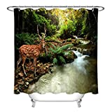 Nyngei Tropical Stream and Sika REH Wasserdichter Polyester-Stoff Duschvorhang, 183 x 183 cm
