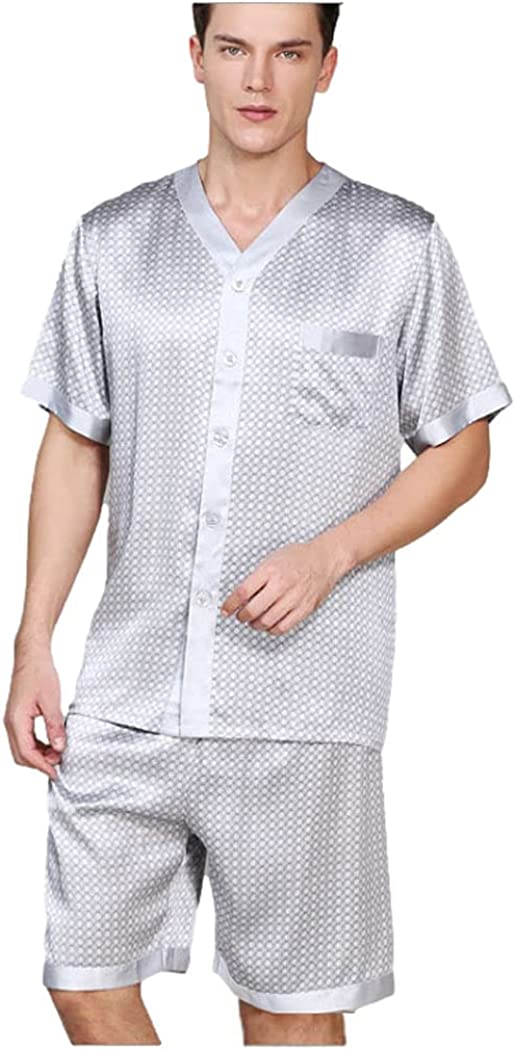 Men's Silk Sleepwear Pajamas,Short-Sleeve Shirt & Short Pants,100% Silk(Main),3 Colors,真丝睡衣