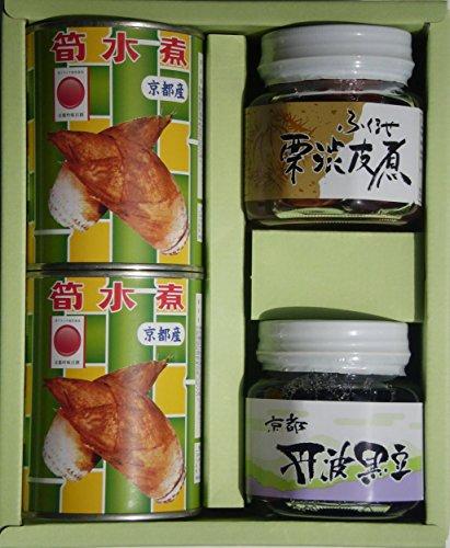 【ご贈答・内祝ギフト】 「京都からの贈り物」 京都産 筍水煮缶 3号缶・栗・黒豆セット T3-585