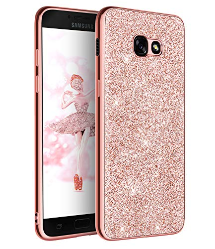 DUEDUE Samsung Galaxy A5 Case, Slim Hybrid Hard PC Cover Shockproof Non-Slip,Glitter Full Body Protective Phone Cover Case for Samsung Galaxy A5 2017 for Women/Girls,Rose Gold