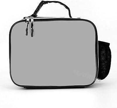Mesllings Bolsa de almuerzo de cuero desmontable y duradera, de color gris plateado, para la oficina, picnic, playa, para niños o adultos