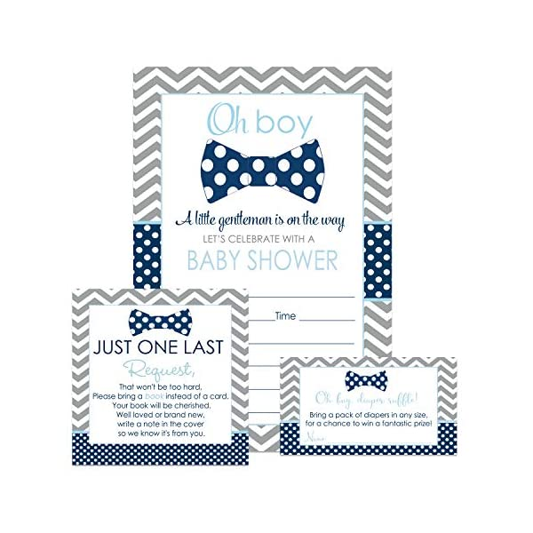 Bow Tie Baby Shower Invitation Bundle (25 Guests) Fill-in Blank Invite Oh Boy – Diaper Raffle Tickets – Book Request Cards – White Envelopes – Set Includes 25 Each