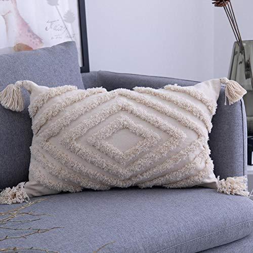 European Style Four-corner Lace Tassel Cushion Office Lumbar Pillow Cotton Tufted Custom Sofa Pillowcase Chair Pad-Khaki,30x50