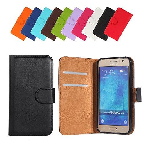 BRALEXX Samsung Galaxy J5 J500 (Modell 2015) Bookstyle Tasche zum Aufstellen mit 2 Kartenfächern, einem Geldfach und Silikon-Rundumschutz-Innenschale schwarz
