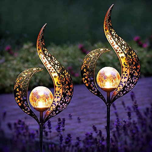 Gadgy Jeu de 2 Lampe Solaire Exterieur Flamme | Decoration de Jardin | Lumières pour L'extérieur