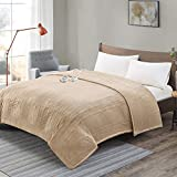 Degrees Of Comfort [Advanced] Micro Plush Electric Blanket King Size Dual Control W/ Auto Shut Off | Heating Blankets for Bed & Living Room | Machine Washable | UL Certified - King, Beige