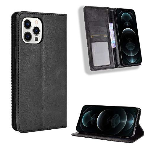 Snow Color iPhone 12 Pro Hülle, Premium Leder Tasche Flip Wallet Case [Standfunktion] [Kartenfächern] PU-Leder Schutzhülle Brieftasche Handyhülle für Apple iPhone 12 Pro 2020 - COBYU011187 Schwarz