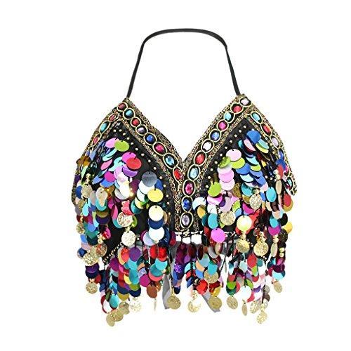MagiDeal - Disfraz de gasa para danza del vientre, con lentejuelas, parte superior