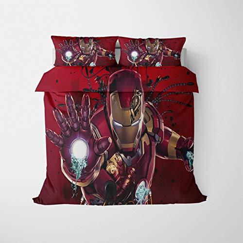 The Avengers Iron Man, set copripiumino 3D con personaggi dei cartoni animati e supereroi, set di biancheria da letto stampato, morbido e traspirante (200 x 200 cm)