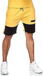 MK988 Mens Contrast Color Workout Yoga Drawstring Elastic Waist Shorts
