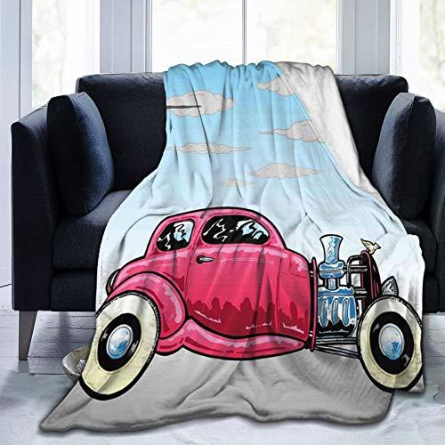 KOSALAER Bedding Manta,Viejo Coche clásico Americano Hot Rod con Motores Grandes modificados para gráficos de Velocidad Lineal,Mantas cálidas de Sala de Estar/Dormitorio Ultra Suaves