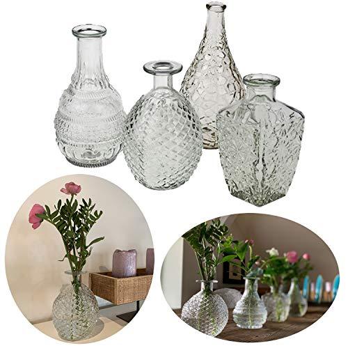 LS-Design 4X Deko-Flaschen Glasvase 20cm Set Blumenvase Tisch-Vase Väschen