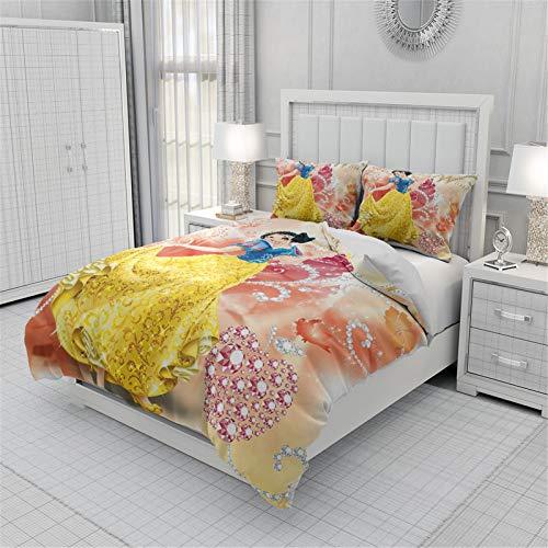 Itscominghome - Juego de cama de princesa, 100% poliéster, funda nórdica y 2 fundas de almohada de 50 x 75 cm, regalo de niña (Disney de 1,200 x 200 cm)