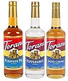 Torani Fall & Winter 3 Pack Syrup, Pumpkin Pie, Peppermint, Salted Caramel