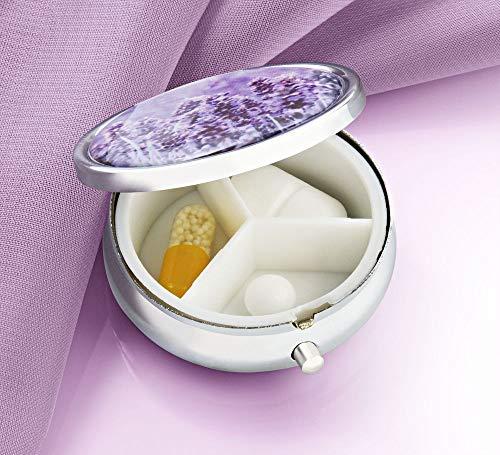 Pillendoosje pillenbox metaal rond lavendel handtas tabletten 3-delig verdeling