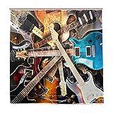 BIGJOKE Duschvorhang, Musik-Gitarre, schimmelresistent, wasserdicht, Polyester, 12 Haken, 182,9 x 182,9 cm, Heimdekoration