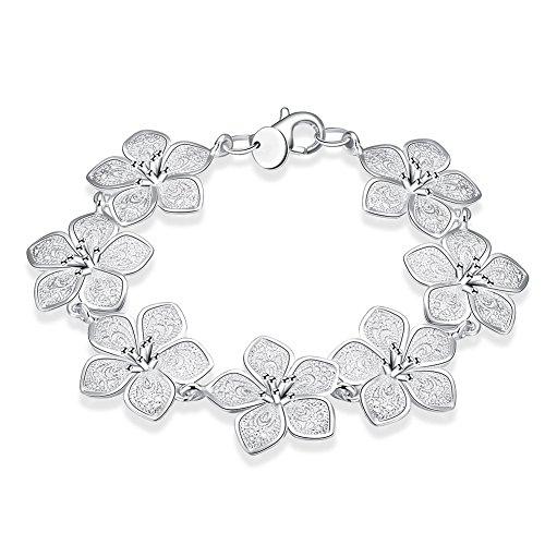 NYKKOLA Armreif mit Blumen-Design, 925 Sterlingsilber, versilbert