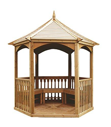 MIO-GIARDINO Brompton - Gazebo esagonale in legno per giardino - tetto in legno - pavimento incluso - misure : 240 x 208 x h295 cm