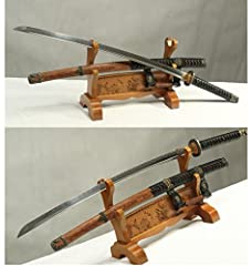 """1.Damascus folded steel clay tempeded blade sword 2. Fully handmade,full tang sharp edge blade sword 3. Professional sword maker made 4. Approx 28.7""""blade&10""""handle&40.5"""" overall 5. Rose wooden sheath,wooden handle wrap w/ rope w/real ray skin w/ Men..."""