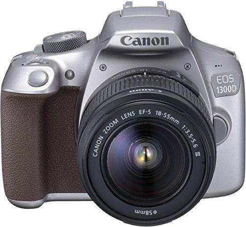 Canon EOS 1300D Digitale Spiegelreflexkamera (18 MP, 7,6cm (3 Zoll) APS-CCMOS-Sensor, WLAN mit NFC, Full-HD , Kit inkl. EF-S 18-55mm) silber