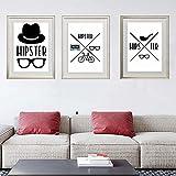 RTAGBFND Moda arte de la pared pintura simple sombrero gafas cartel en blanco y negro lienzo pintura sala de estar pasillo estudio decoración del hogar -35x50cmx3 sin marco