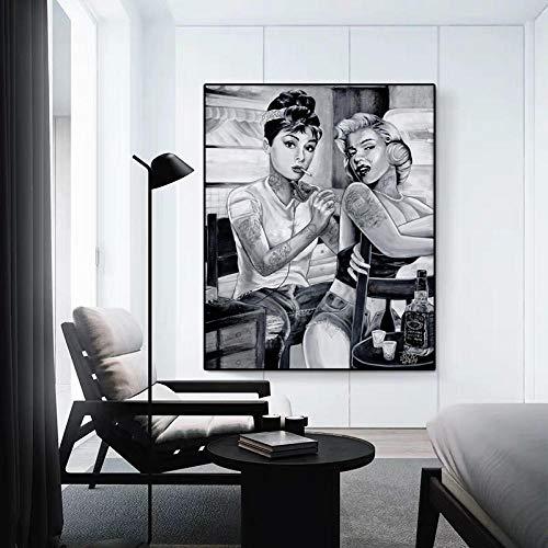 XuFan Pintura en Lienzo Cartel en Blanco y Negro Marilyn Monroe Cuadros Decorativos para Sala de Estar Pared Moda Lienzo Arte 40x60cm Sin Marco