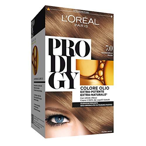 L'Oréal Paris Tinta Capelli Prodigy, Copertura Totale dei Capelli Bianchi, 7.0 Mandorla Biondo, Confezione da 1