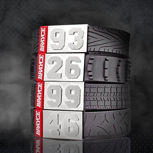 BRAYCE® Bracelet des pneumatiques avec Votre numéro 00-99 I Indestructible comme Un Pneu pour Voiture ou Un Pneu de Moto