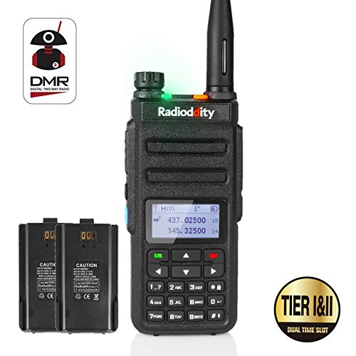 Radioddity GD-77 Dual Band Dual Time Slot DMR Digital/Analog Two Way Radio VHF/UHF 1024 Channels Ham Amateur Radio Compatible w/MOTOTRBO, Free Programming Cable, Extra Battery