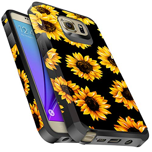 Galaxy Note 5 Case, Miss Arts Slim Anti-Scratch Protective Kit with [Drop Protection] Heavy Duty Dual Layer Hybrid Sturdy Armor Cover Case for Samsung Galaxy Note 5 -Sunflower/Black