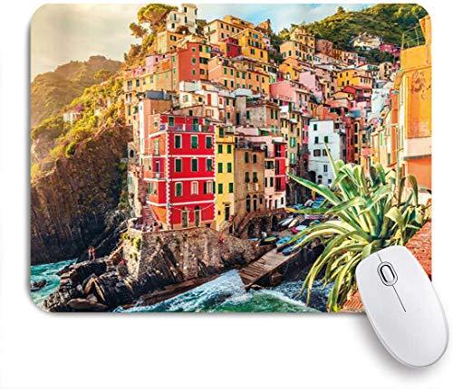 Benutzerdefiniertes Büro Mauspad,Italien Riomaggiore am Sonnenuntergang Cinque Terre Nationalpark Klippe und Küste,Anti-slip Rubber Base Gaming Mouse Pad Mat