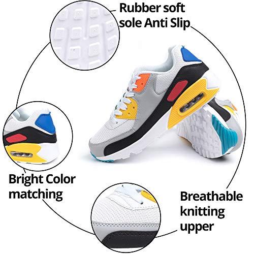 Zapatillas de Deportivas Mujer Zapatos Correr Hombre Running Casual Sneakers Cordones Colchón de Aire Ligero Respirable Calzado BlancoAmarillo 39