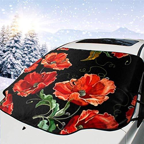 FETEAM Winddichte Windschutzscheibe Schneedecke Auto Sonnenschutz Visier Schöne rote P-0-Ppies Blumen nahtlos Winter Frostschutz Protector Alle Fahrzeuge