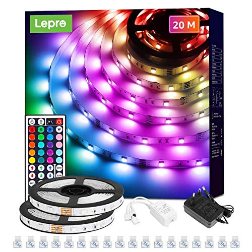 Lepro LED Strip 20M (2x10M), LED Streifen Lichterkette mit Fernbedienung, Band Lichter, RGB Dimmbar Lichtleiste Light, Lichtband Leiste, Bunt Kette Stripes für Party Weihnachten Deko