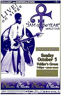 Concert Prince 1997 Poster for Jam of The Year World Tour at Fiddler's Green in Denver, CO. 11 x 17 inches on Stock Card