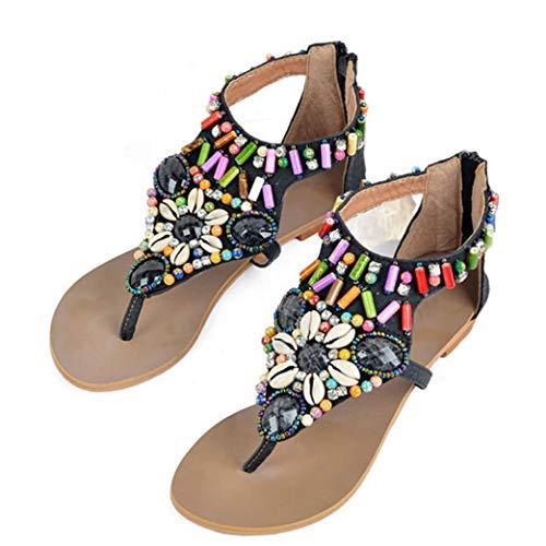 Mujeres étnicas Sandalias Planas Cadena Abalorios Verano Cremallera Confort Clip Dedo del pie Gladiador Sandalia Zapatos (Ropa)