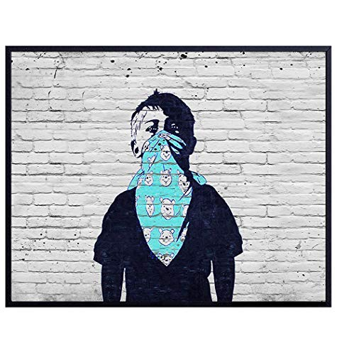 Social Distancing Banksy Wall Art Poster - Face Cover Corona Boy - Funny Pandemic Buff Mask Picture Print - Home, Room Decor for Living Room, Dorm, Bedroom, Apartment - Gift for Urban Street Art Fan